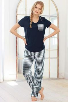 Buy Navy Stripe Pyjamas online today at Next: Israel Pajama Outfits, Cute Outfits, Casual Outfits, Fashion Outfits, Cute Pjs, Cute Pajamas, Cute Sleepwear, Sleepwear Women, Night Suit For Women