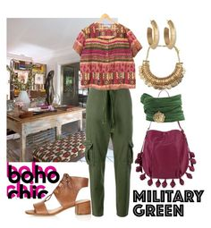 """boho military green"" by kc-spangler ❤ liked on Polyvore featuring Current/Elliott, Topshop, Cynthia Rowley, House of Harlow 1960, GREEN, boho, olive and Gogreen"