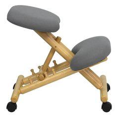 Sit Healthier Mobile Wooden Ergonomic Kneeling Chair in Gray