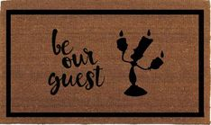 """Be Our Guest Beauty and the Beast Lumiere Disney Door Mat, Coir Doormat Rug, 24"""" x 35"""", Welcome Mat, Housewarming Gift, Hand Painted By Me by FranklinandFigg on Etsy https://www.etsy.com/au/listing/466610849/be-our-guest-beauty-and-the-beast"""