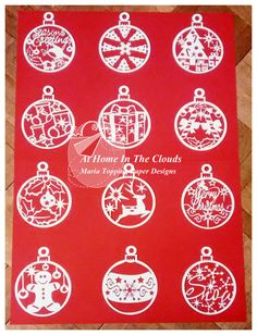 Paper Cutting Template, Personal and Commercial Use, 12 Christmas Baubles, Printable JPEG and PDF Files, DIY, Cut Your Own
