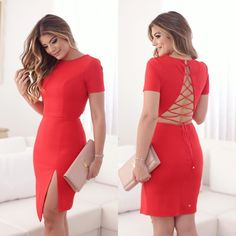 Awesome Awesome New Sexy Casual Dress Evening Backless Cocktail Party Dress Red Bandage Bodycon 2018 Cute Dresses, Casual Dresses, Short Dresses, Fashion Dresses, Cocktail Bridesmaid Dresses, Chic Outfits, Evening Dresses, Party Dress, Bodycon Dress