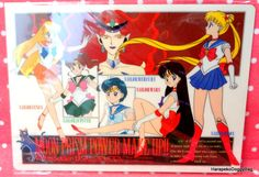 A shitajiki / illustration picture board for the Japanese shojo anime, Sailor Moon. The stationery item with the illustration of the pretty guardian soldiers and Queen Beryl is for Sailor Moon.