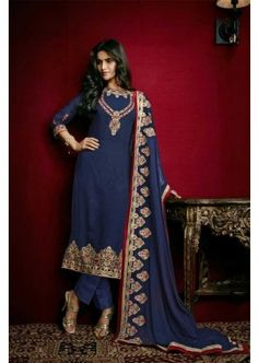 Blue Faux Georgette Churidar Suit, - £87.00, #FashionUK #DesignerDresses #SalwarKameez #OnlineDress #Shopkund