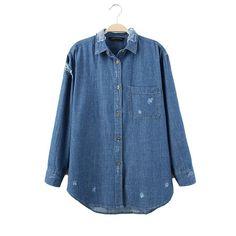Women fashion holes denim blouse basic casual wear shirts long sleeve pocket Blusas Femininas calssic blue loose tops LT654