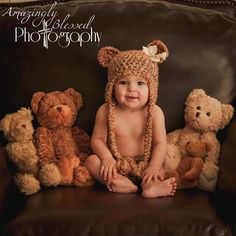 Baby Teddy bear hat beanie earflap and diaper set (over 30 colors available) Bow NOT included. Newborn Photography Poses, Baby Girl Photography, Urban Photography, Baby Teddy Bear, Teddy Bears, Mommy And Son, Boy Pictures, Cute Little Baby, Baby Photos