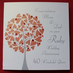 Personalised RUBY Wedding Anniversary Card £2.75