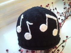 Musical Note Hat ~ free pattern (Hat is knitted, notes crocheted)