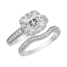 Princess Halo Diamond Engagement Ring Wedding Band Bridal Set 10K White Gold