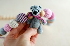 Nursing necklace with amigurumi Teddy Bear in baby by kangarusha