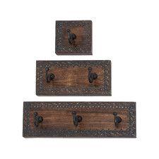 3 Piece Wood & Metal Coat Rack Set