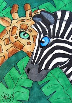 ACEO ZEBRA AND GIRAFFE ON EBAY