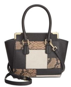 Calvin Klein On My Corner Saffiano Crossbody - Black/Khaki Snake Patch