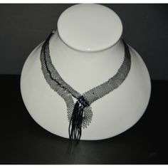 Beaded Necklace, Chokers, Jewels, Fashion, Black Glass, Glass Beads, Black Necklace, Lace Jewelry, Bobbin Lace