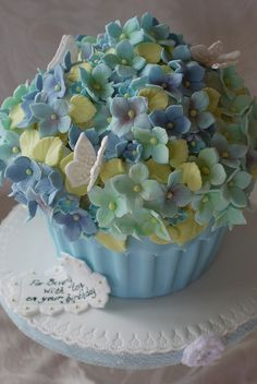 hydrangea giant cupcake flower pot with blue and green blossoms