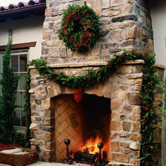 A fir garland and wreath with bright nandina berries brings the holidays to the patio.