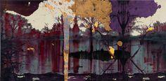VOCA奨励賞 柴田 麻衣 「Lakeside」 オイルバー、アクリル、パネル 194.0×390.9×3cm (via VOCA展2013 現代美術の展望-新しい平面の作家たち|上野の森美術館 The Ueno Royal Museum)