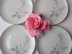 Vintage French Rose Dessert Plates Set of Four by thechinagirl