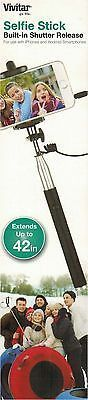 Vivitar Black Selfie Stick Extends up to 42 Inches Shutter Release Apple Android