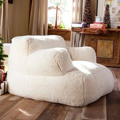 Ivory Sherpa Faux Fur Eco Lounger | PBteen
