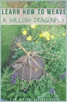 How to make a Willow Dragonfly - video tutorial - WillowTwisters Diy Arts And Crafts, Creative Crafts, Diy Crafts For Kids, Dyi Crafts, Willow Garden, Willow Weaving, Basket Weaving, Twig Art, Dragon Fly Craft