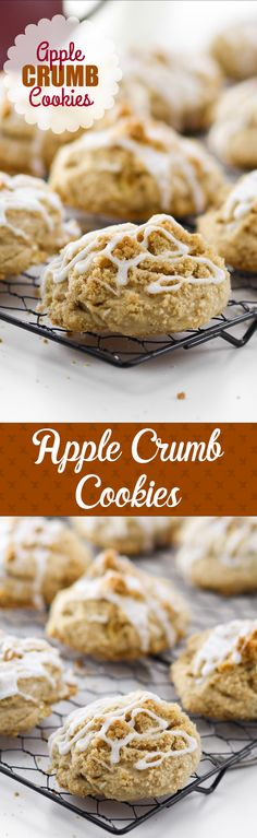 Apple Crumb Cookies -- part cookie, part apple cake. Perfectly moist with a topping of streusel and glaze. YUM!!!
