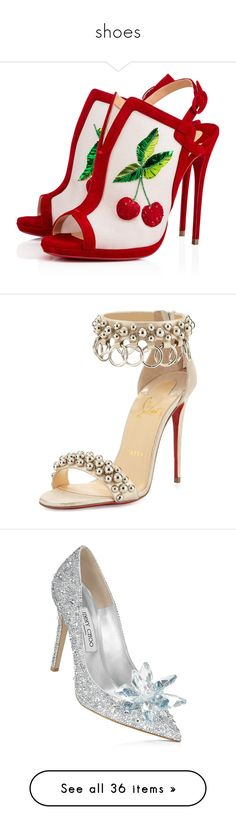"""""""shoes"""" by mel-grey-lannister ❤ liked on Polyvore featuring shoes, sandals, heels, christian louboutin, louboutin, embroidered sandals, christian louboutin sandals, suede sandals, heeled sandals and summer footwear"""