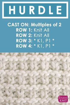 Knitting Instructions How to Knit the Hurdle Stitch with Free Written Pattern and Video Tutorial by Studio Knit. Knitting Instructions How to Knit the Hurdle Stitch with Free Written Pattern and Video Tutorial by Studio Knit. Loom Knitting Stitches, Loom Knitting Projects, Dishcloth Knitting Patterns, Knitting Charts, Knitting Needles, Free Knitting, Cross Stitches, Simple Knitting Patterns, Loom Knitting Blanket