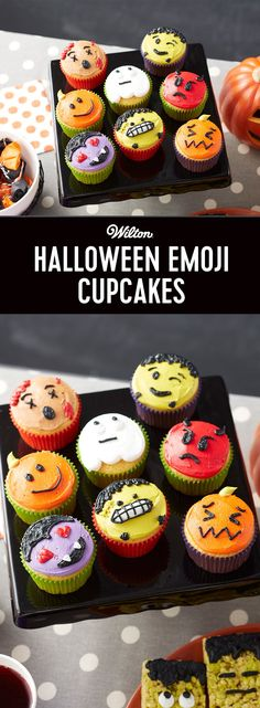 Halloween Emoji Cupcakes - Bring all your favorite Halloween characters to your Monster Mash with these Halloween Emoji Cupcakes. Featuring devils, ghosts, pumpkins, Frankenstein monsters, Draculas and zombies, these Halloween cupcakes are a fun way to dress up your favorite emojis! A fun decorating project for beginning decorators, these Halloween cupcakes are sure to be the hit of any party!