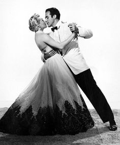 Lana Turner and Ricardo Montalban in a publicity shot for 'Latin Lovers', 1953.
