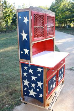 Old Glory redone hoosier  stained body with paint treatments over stain on top