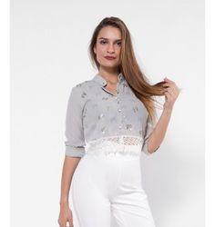 Crop Πουκάμισο με Δαντέλα και Χρυσά Φιογκάκια - Γκρι του Πάγου White Shorts, Tops, Women, Fashion, Moda, Women's, Fashion Styles, Woman, Fasion