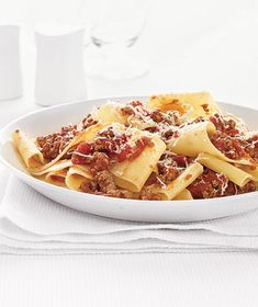 Pappardelle With Spicy Meat Sauce recipe from realsimple.com #myplate #protein