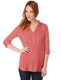 Splendid Shirting One Button Cotton Tunic in Blaze $98.00