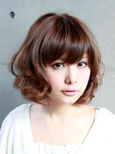 Asian Short Hairstyles 2015 for Women Cute Short Curly Hairstyles, Curly Hair With Bangs, Girls Short Haircuts, Hairstyles With Bangs, Asian Hairstyles, Layered Hairstyles, Bangs Hairstyle, Hairstyles Haircuts, Hairstyle Ideas