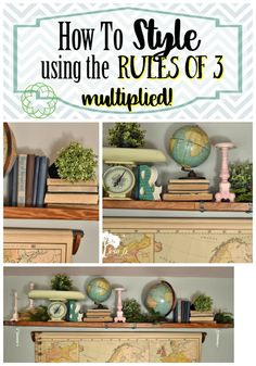 By multiplying the Rule of in decorating, a beautiful vignette can be created easily. Flea Market Decorating, Decorating Tips, French Decor, French Country Decorating, Style Indie, Dragonfly Decor, Gravity Home, Vintage Shelf, Diy Home Decor On A Budget