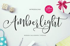 Introducing Amberlight Script - a new fresh & modern script with a sweet calligraphy-style, decorative characters and a dancing baseline! So beautiful on invitation like greeting cards, branding materials, business cards, quotes, posters, and more!