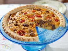 Country Quiche Recipe - Trisha Yearwood (sausage, cheese, eggs, tomatoes)