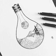 Variation on my moon in lightbulb design. For Caitlin. #illustration #illustrator #design #sketch #drawing #draw #lightbulb #landscape #moon #explore #wanderlust #blackandwhite #blackwork #blackworkers #dotwork #linework #art #artist #artwork #instaart #artistic #evasvartur #minimal #instafollow #commission #travel #mountains