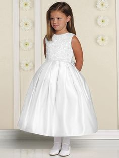 Joan Calabrese White Sleeveless Embroidered Lace Overlay Bodice w/ Full Box Pleated Skirt