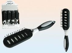 Haarbürsten mit weichen Kunststoffborsten Schwarz / Weiß Design 12 Stück Set