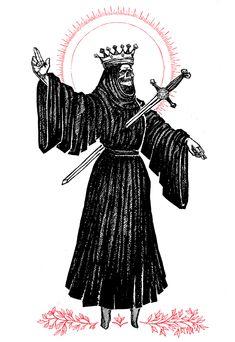 "Image of ""King of Swords"" Watercolor Print Tattoo Drawings, Body Art Tattoos, Art Drawings, Dark Fantasy Art, Dark Art, King Of Swords, Grim Reaper Tattoo, Old School Tattoo Designs, Satanic Art"