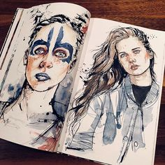 Another double page from my artbook... #Portrait #Portraitsketch #Sketch #Sketchbook #Sketchoftheday #Draw #Drawing #Portraitdrawing #Aquarelle #Watercolor #Portraitoftheday #Artist #Art #Ink #Messylines #Dominicbeyeler #artbook