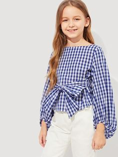 To find out about the Girls Bishop Sleeve Gingham Top at SHEIN, part of our latest Girls Blouses ready to shop online today! African Dresses For Kids, Dresses Kids Girl, Cute Girl Outfits, Kids Outfits Girls, Casual Outfits, Kids Girls Tops, Top Girls, Girls Fashion Clothes, Tween Fashion
