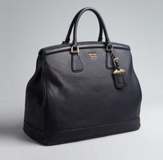 Prada Black Leather Logo Large Top Handle Bag #designer #handbag   www sheMALl neT