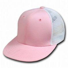 DECKY ADJUSTABLE 6 PANEL MESH SNAPBACK TRUCKER BASEBALL CAP, PINK, WHITE DECKY. $8.13