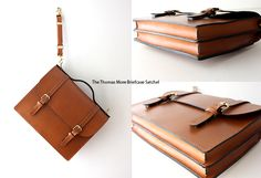 Old-School Classic Non Removable Double Buckle Strap Fine Bridle Leather Satchel