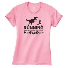 T-Rex Dinosaur Running Motivation Workout Running Performance Ladies... ($20) ❤ liked on Polyvore featuring activewear, activewear tops, blue, t-shirts, tops, women's clothing, blue shirt, moisture wicking shirts, short sleeve print shirt and crew neck shirts