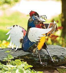 Handmade Recycled Metal Reading Rooster Garden Sculpture