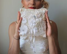 Rustic Ring Pillows ivory ring bearer by cornerofthegarden on Etsy, $70.50